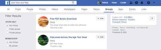 Search Facebook Groups to Share File